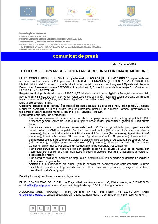 print sc comunicat forum